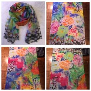 Accessories - NWOT Multicolor Floral & Polka Dot Print Scarf